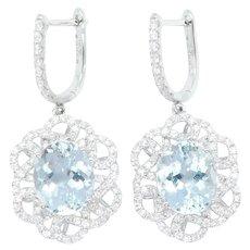 8.01 ctw Aquamarine and Diamond Infinity Swirl Halo Dangle Earrings 14k White Gold