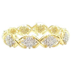 """6.11 ctw Diamond Cluster Hug and Kiss Bracelet 14k Yellow and White Gold 7 1/4"""""""