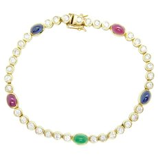 "5.68 ctw Emerald, Ruby, Sapphire and Diamond Bracelet 14k Yellow Gold 7"""