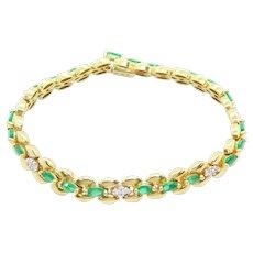 "1.96 ctw Emerald and Diamond Panther Link Bracelet 14k Yellow Gold 7"""