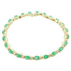 "3.75 ctw Emerald and Diamond Bracelet 14k Yellow Gold 7"""