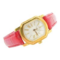 Ladies Tiffany & Co Wristwatch 18k Yellow Gold Case with Red Watch Strap