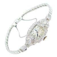 Ladies Art Deco 1.78 ctw Diamond Dress Wristwatch Platinum / Watch