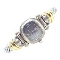 Ladies David Yurman Wristwatch Sterling Silver and 14k Yellow Gold Watch