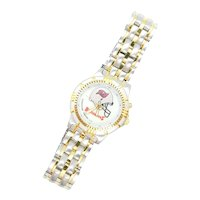 Ladies Buccaneers Football Sports Watch Bulova Two-Tone Stainless Steel and Gold Plate
