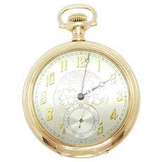 Edwardian 1925 Waltham Pocket Watch Gold Plate