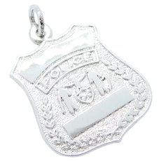 Police Badge Charm / Pendant Sterling Silver