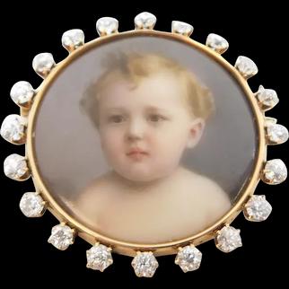 Antique 2.62 ctw Diamond Hand Painted Miniature Baby Portrait Pendant / Pin / Brooch 14k Yellow Gold