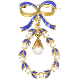 Art Nouveau Seed Pearl and Cobalt Blue Enamel Bow and Wreath Pin / Brooch 18k Yellow Gold