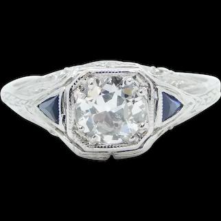 Art Deco .91 ctw Diamond and Sapphire Ornate Filigree Engagement Ring Platinum