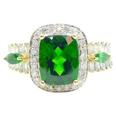 3.24 ctw Chrome Diopside and Diamond Halo Ring 14k Yellow and White Gold Two-Tone