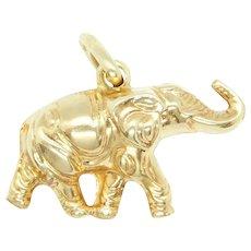 Puff Good Luck Elephant Charm 10k Yellow Gold