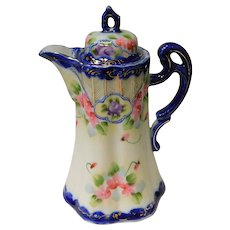 Antique Nippon Hand Painted Cherry Blossom and Cobalt Blue Chocolate Pot / Pitcher Circa 1890