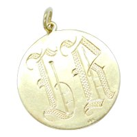 """Edwardian """"LR"""" Initial Romantic Hand Engraved Disk Charm / Pendant 14k Yellow Gold"""