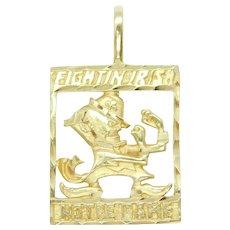 Fightin Irish Notre Dame Leprechaun Sports Mascot / Logo Charm / Pendant 14k Yellow Gold