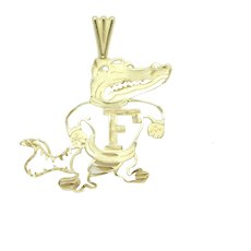 Florida Gator Mascot Charm / Pendant 14k Yellow Gold