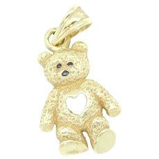 Teddy Bear with Heart Cutout Charm / Pendant 14k Yellow Gold