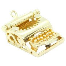 Vintage Moving Typewriter Charm 14k Yellow Gold
