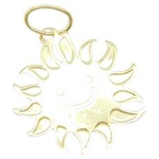 Smiling Happy Sun Charm 14k Yellow Gold
