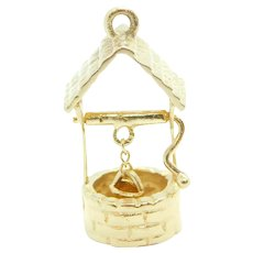 Vintage Moving Wishing Well Charm 14k Yellow Gold 1960's