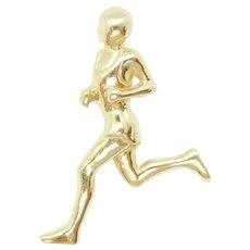 Runner / Jogger Athlete Sports Charm Pendant 14k Yellow Gold