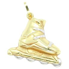 Puff Rollerblade Inline Skate Sports Charm 14k Yellow and White Gold Two-Tone