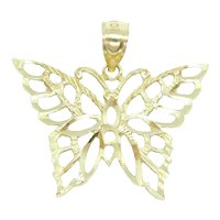 Diamond Cut Cutout Butterfly Charm / Pendant 14k Yellow Gold