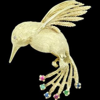 Vintage Mid-Century .27 ctw Diamond, Emerald, Sapphire and Ruby Hummingbird Pin / Brooch 14k Yellow Gold