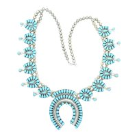 Vintage Navajo Native American Indian Squash Blossom Turquoise Beaded Necklace Sterling Silver