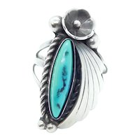 Vintage Native American Turquoise Floral Ring Sterling Silver
