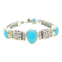 """Bali Style Turquoise Bracelet Sterling Silver 7 1/4"""""""