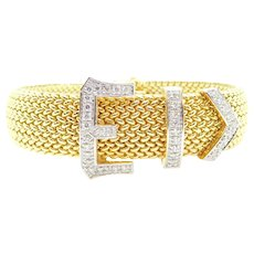 """Ladies Vintage .72 ctw Diamond Peek A Boo Buckle Watch 14k Yellow and White Gold 6 7/8"""""""
