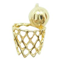 Basketball and Hoop Sports Charm 14k Yellow Gold