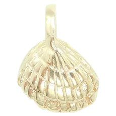 Petite Nautical Shell Charm 14k Yellow Gold
