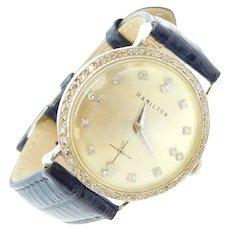Vintage .53 ctw Diamond Hamilton Watch 14k White Gold with Black Strap / Wristwatch