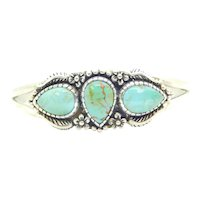 Thee Stone Turquoise Floral and Leaf Cuff Bracelet Sterling Silver