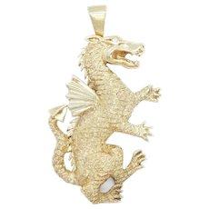 Big .01 Carat Diamond Dragon Pendant 14k Yellow Gold