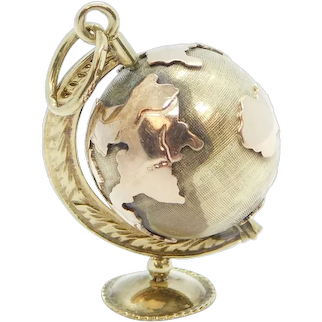 Vintage Spinning Globe Charm 9k Yellow and Rose Gold Two-Tone