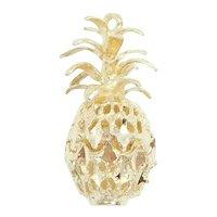 Diamond Cut Pineapple Charm 14k Yellow Gold