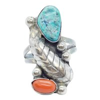 Vintage Native American Turquoise and Coral Leaf Ring Sterling Silver