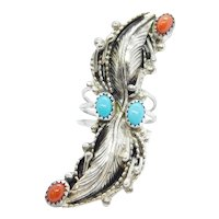 Vintage Native American Navajo Marie Dale Turquoise and Coral Elongated Leaf Ring Sterling Silver