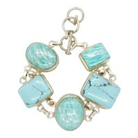 Chunky Turquoise and Amazonite Bracelet Sterling Silver