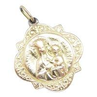 Edwardian 1925 Religious Medallion Charm / Pendant 14k Yellow Gold