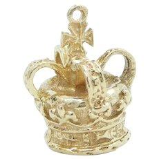 Ornate Crown Charm 10k Yellow Gold