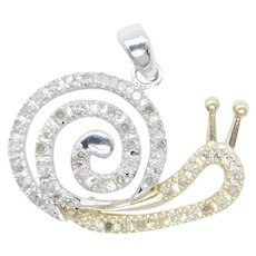 .24 ctw Diamond Snail Pendant 10k Yellow and White Gold Two-Tone