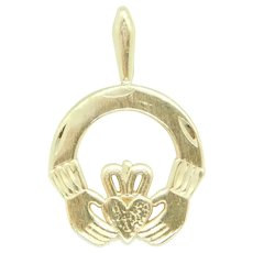 Claddagh Charm / Pendant 14k Yellow Gold ~ Love, Loyalty and Friendship