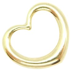 Puff Open Heart Charm / Pendant 14k Yellow Gold