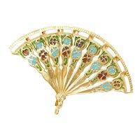 Edwardian Enamel Accordion Folding Spanish Style Hand Fan Charm / Pendant 18k Yellow Gold