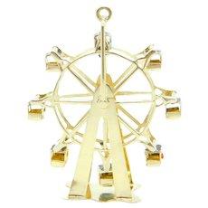 Vintage Enamel Moving Ferris Wheel / Amusement Ride Charm / Pendant 14k Yellow Gold 1960's
