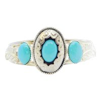 Native American JT Turquoise Cuff Bracelet Sterling Silver